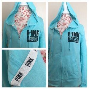 🆕VS PINK Blue zipper hoodie